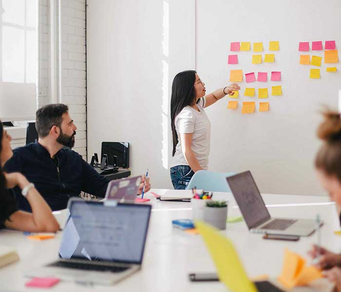 Office meeting in front of a whiteboard filled with post-its | Axiomatics